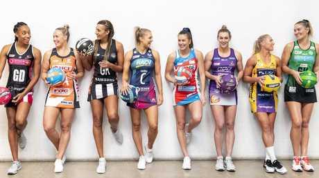 (L-R) Layla Guscoth, Kim Green, Geva Mentor, Kate Moloney, Maddy Proud, Gabi Simpson, Laura Langman and Courtney Bruce at the Super Netball 2019 season launch.
