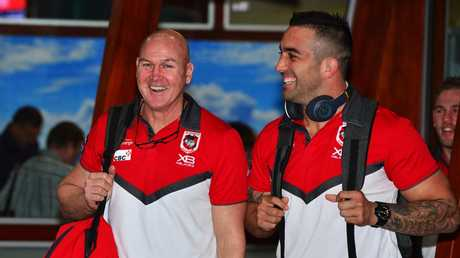 Dragons coach Paul McGregor and the much-improved Paul Vaughan have plenty of reasons to be happy. Picture: Zak Simmonds