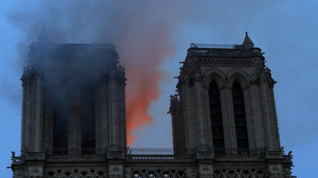 The French president warned the battle is not won at Notre Dame and could continue for days. Picture: Philippe Wojazer