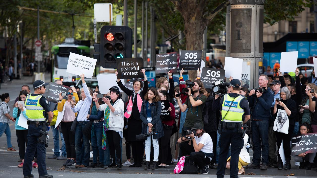 Ms Hurst supported the vegan protests that happened earlier this month. Picture: AAP Image/Ellen Smith