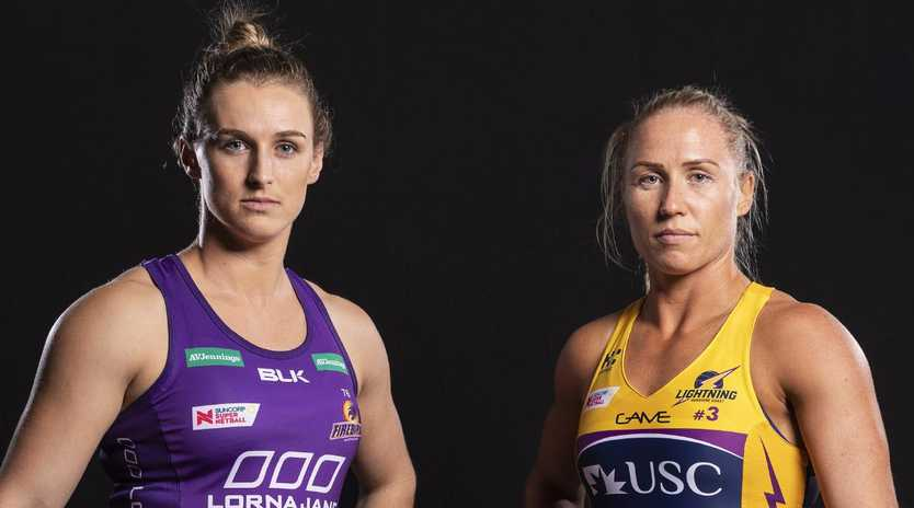 Gabi Simpson of the Firebirds and the Lightning's Laura Langman are fired up for the new Super Netball season. Picture: AAP