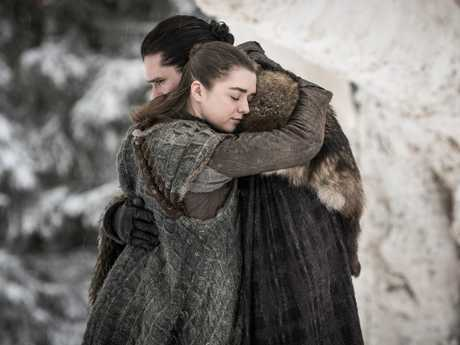 Jon Snow and Arya Stark's reunion was a fan favourite moment. Picture: Helen Sloan/HBO via AP