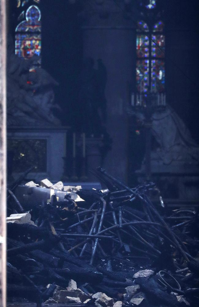 This picture shows charred debris inside Notre Dame cathedral. Picture: AP