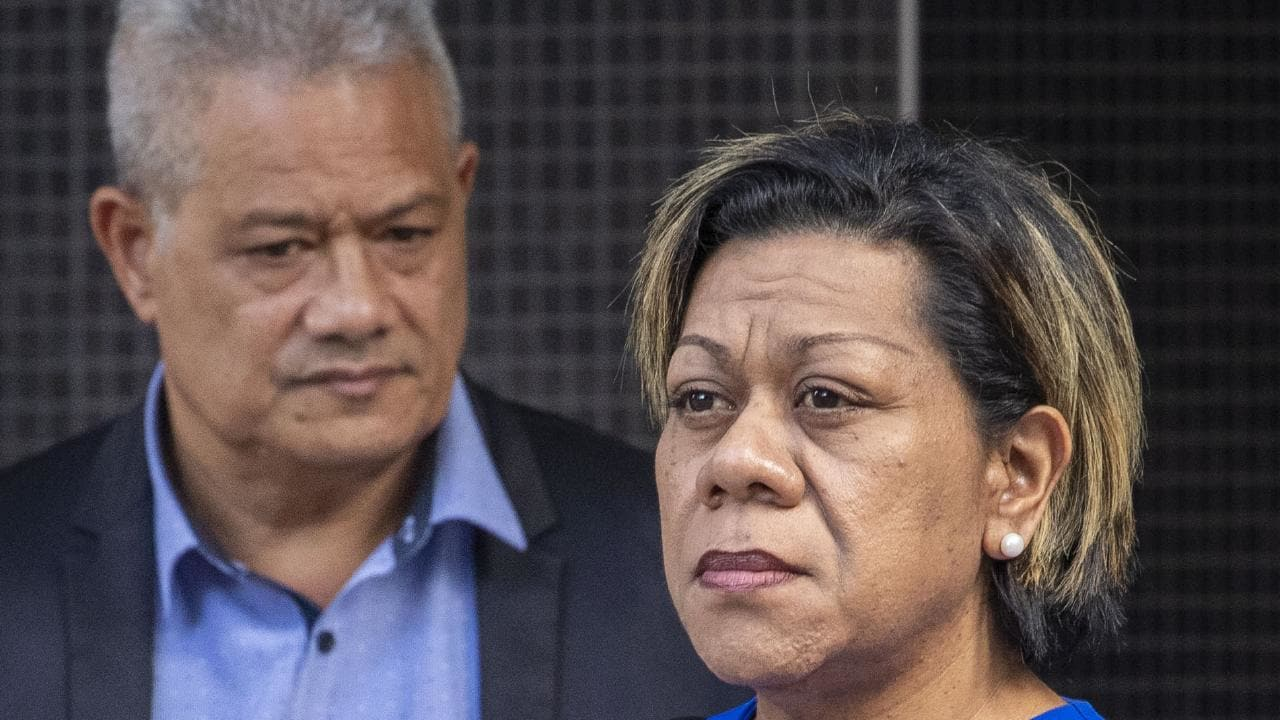 Malavine Pulini (right) and Isikeli Feleatoua Pulini (left) as they arrived at Brisbane District Court this morning. PIcture: Glenn Hunt/AAP