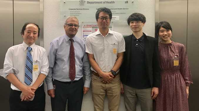 LEARNING TRIP: Dilip Dhupelia (second from left) welcomes visiting Japanese doctors (from left) Tetsuhisa Oguri, Yukito Agawa, Rakan Kotoku and Yurie Kotoku who will learn about rural generalist programs.