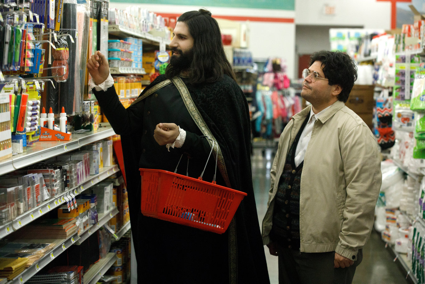 Kayvan Novak and Harvey Guillen in a scene from What We Do in the Shadows.