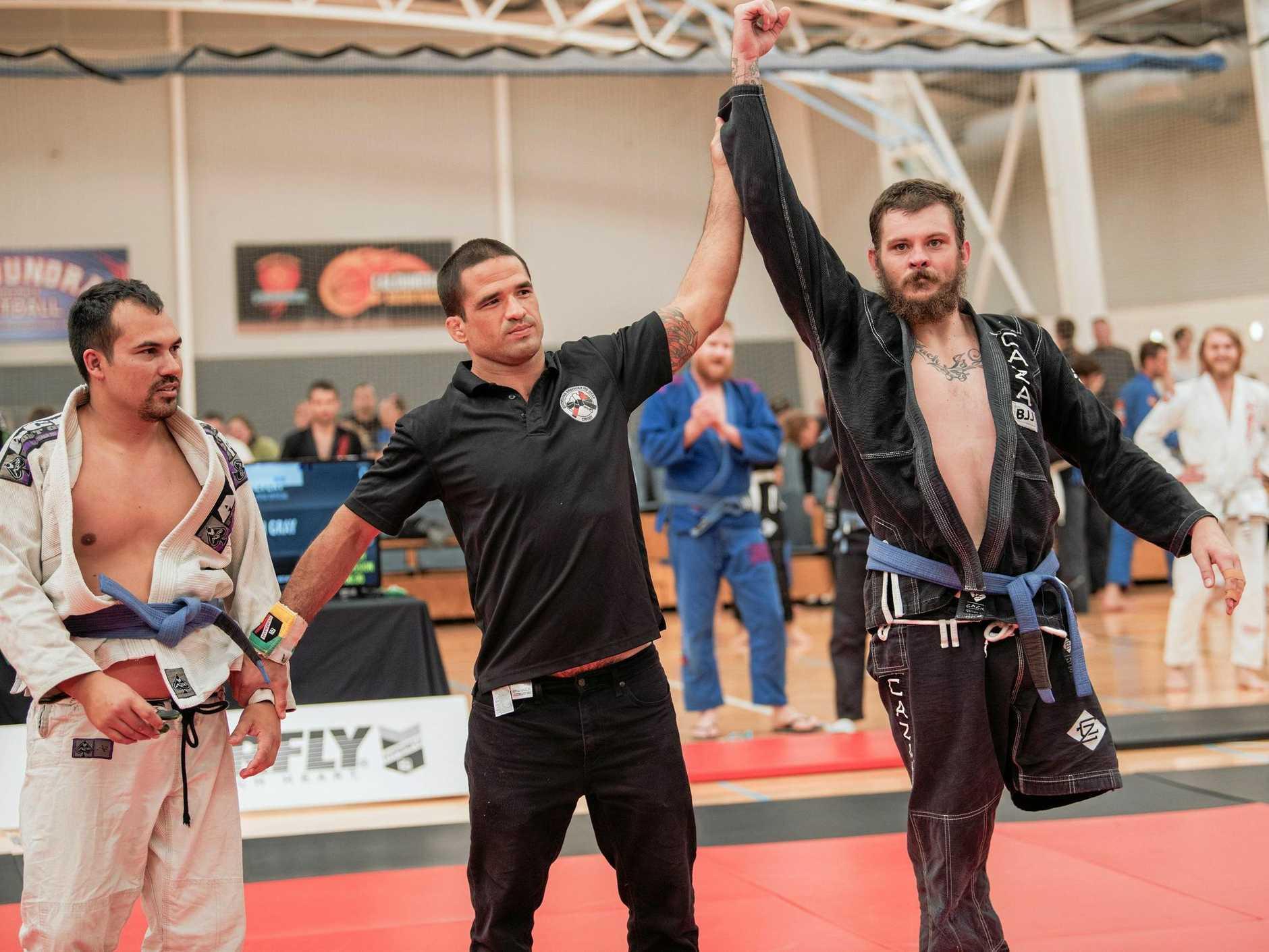 Tewantin's Jed Gray after winning the Medium Heavy Masters 1 Blue Belt division at the 2019 Sunshine Coast Brazilian Jiu-Jitsu Championship.