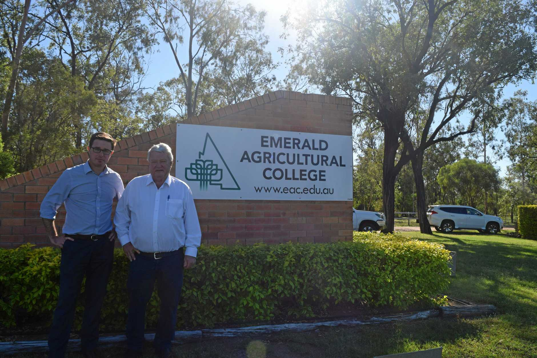 NOT HAPPY: Federal Minister for Agriculture and Water Resources David Littleproud and Federal Member for Flynn Ken O'Dowd are campaigning against the closure of Emerald Agriculture College.