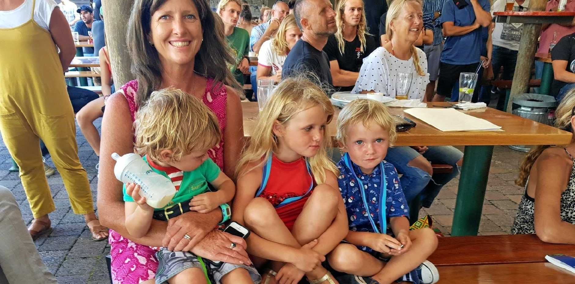 FAMILY: Sally Miller and her children at the 2017 Byron Bay Boardriders Club presentation.