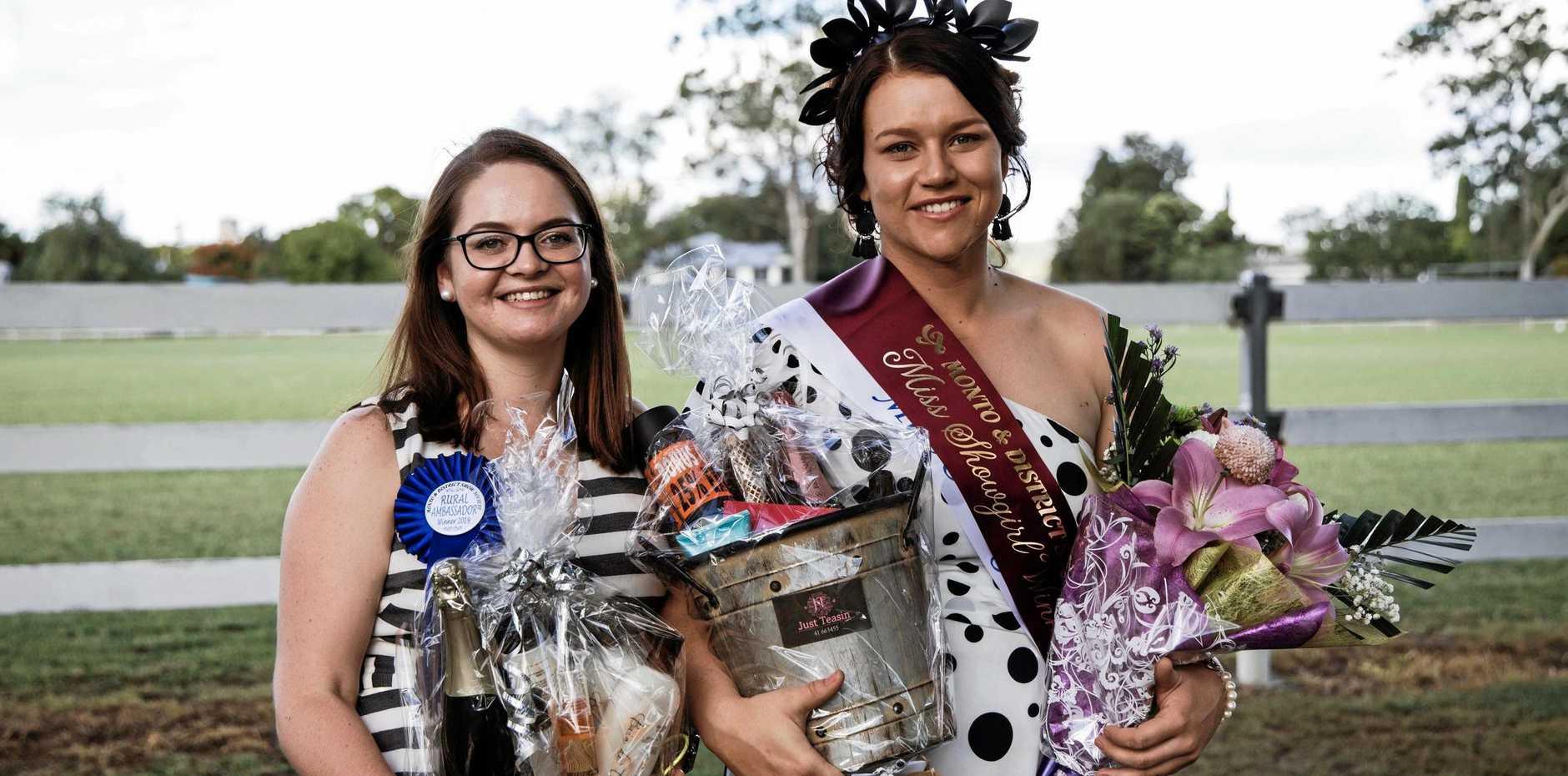 GIVING BACK: Rural Ambassador Brianna Hockey and Miss Showgirl Clare Webb.
