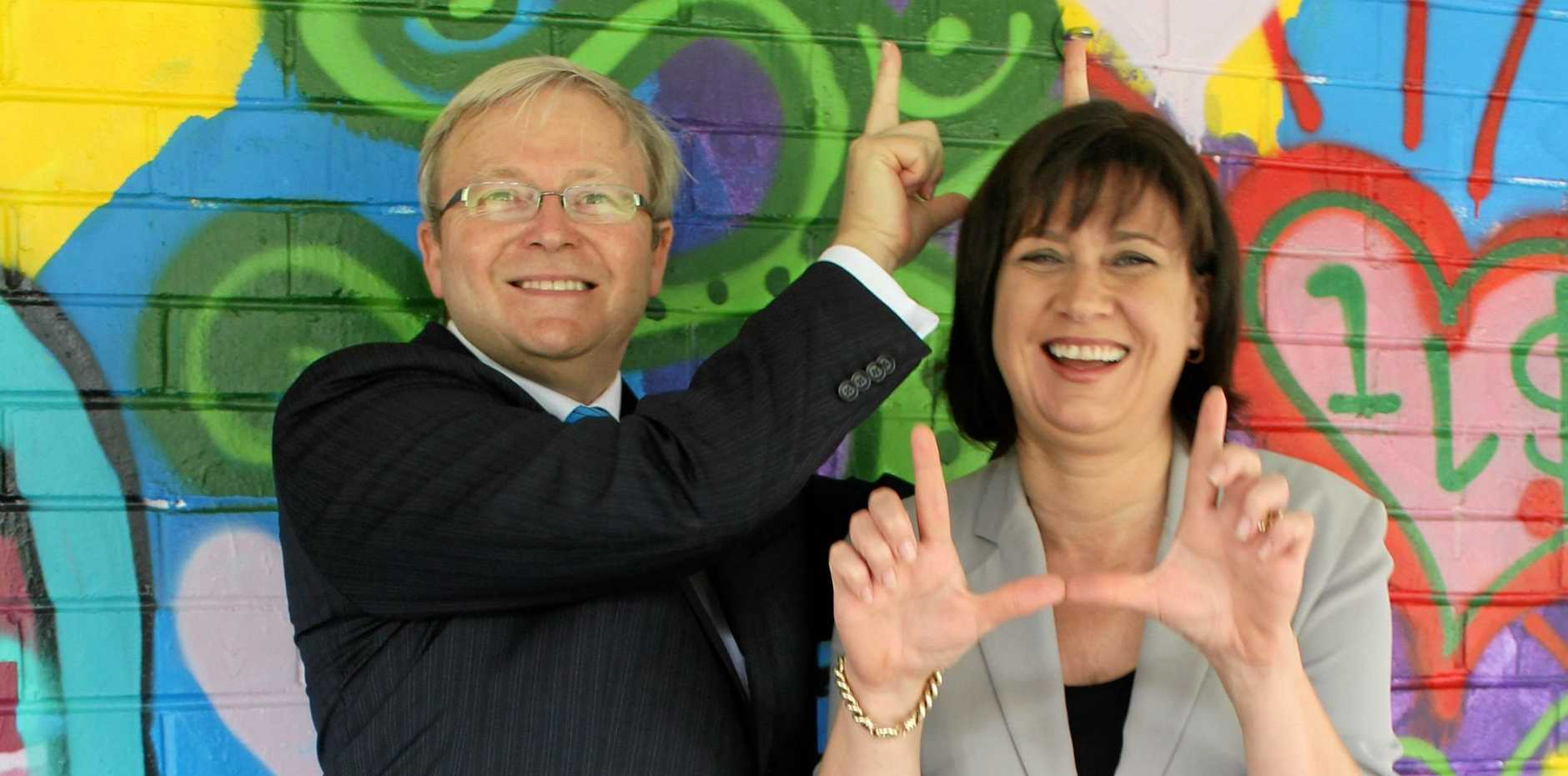 PAST ISSUES: Member for Richmond Justine Elliot and former Prime Minister Kevin Rudd in 2012.