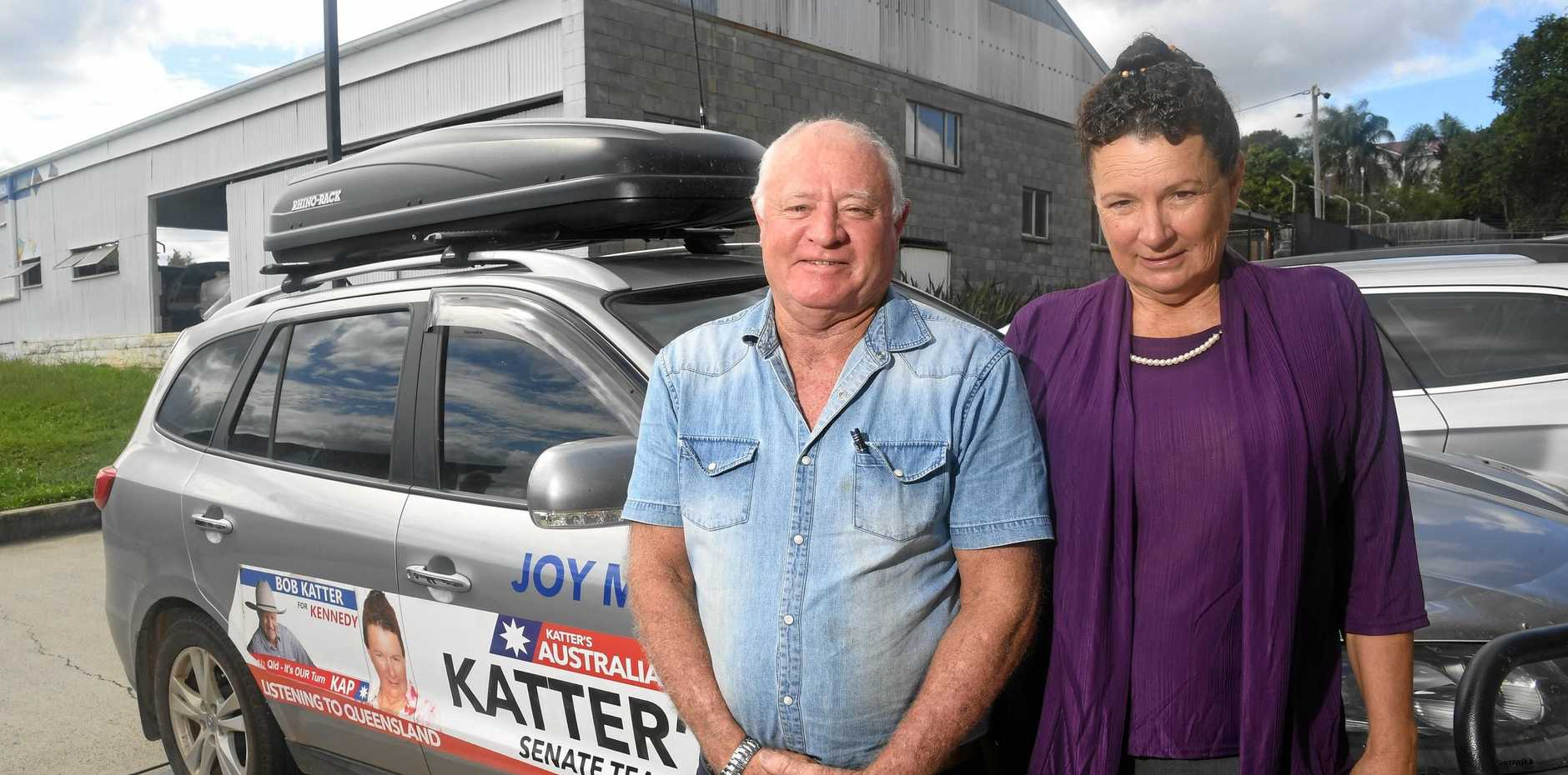 Katter's Australia Party Queensland Senate team candidate Joy Marriott (right) with supporter Alan Webb.