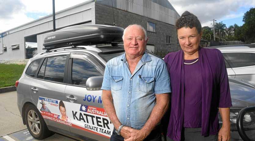 Katter's Australia Party Queensland Senate team candidate Joy Marriott (right) with supporter Alan Webb.