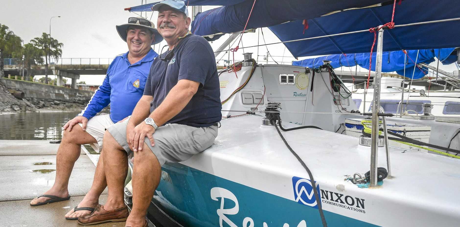 Skipper John Ibell and navigator Paul Janson from Restless which will compete in the Brisbane to Gladstone yacht race.