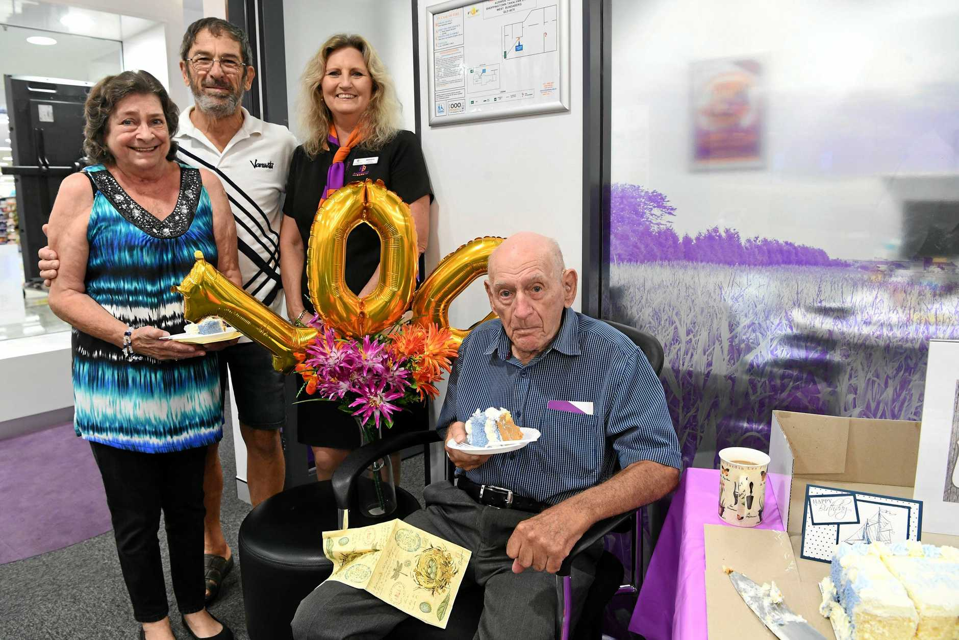 Jack Sulsters celebrating his one hundredth birthday with Lydi Vancsa, Georg Vancsa and Brenda Meikle.