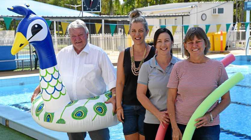 SPLASH: Member for Flynn Ken O'Dowd, Gayndah Swimming Club president Jody Doyle, HiTide Swim School owner Amy Golchert, and former vice-president Judy Cherry.