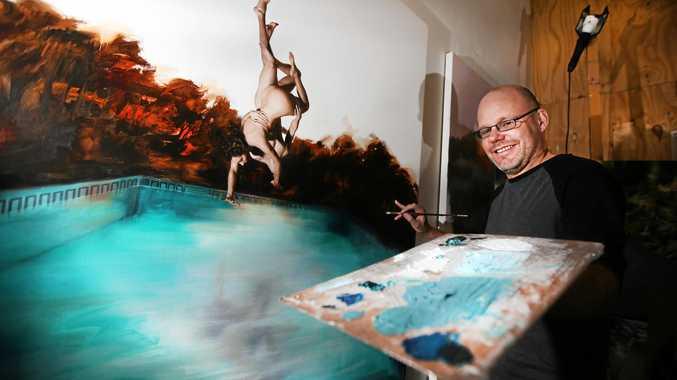 Local Tweed Heads Archibald Artist in his studio at Murwillumbah Art Precinct