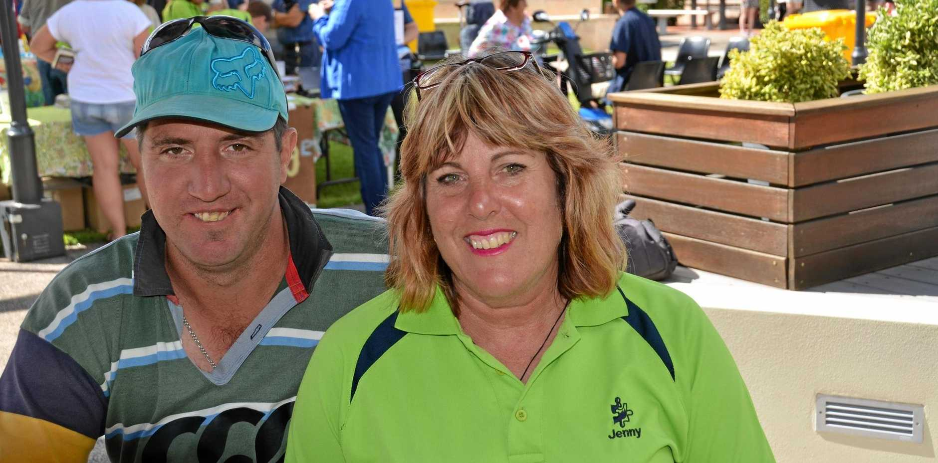 Jenny Lutz with her son Greg, at the South Burnett Autism Awareness barbecue in Kingaroy.