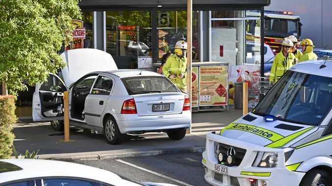 Car crash at IGA West Ipswich.