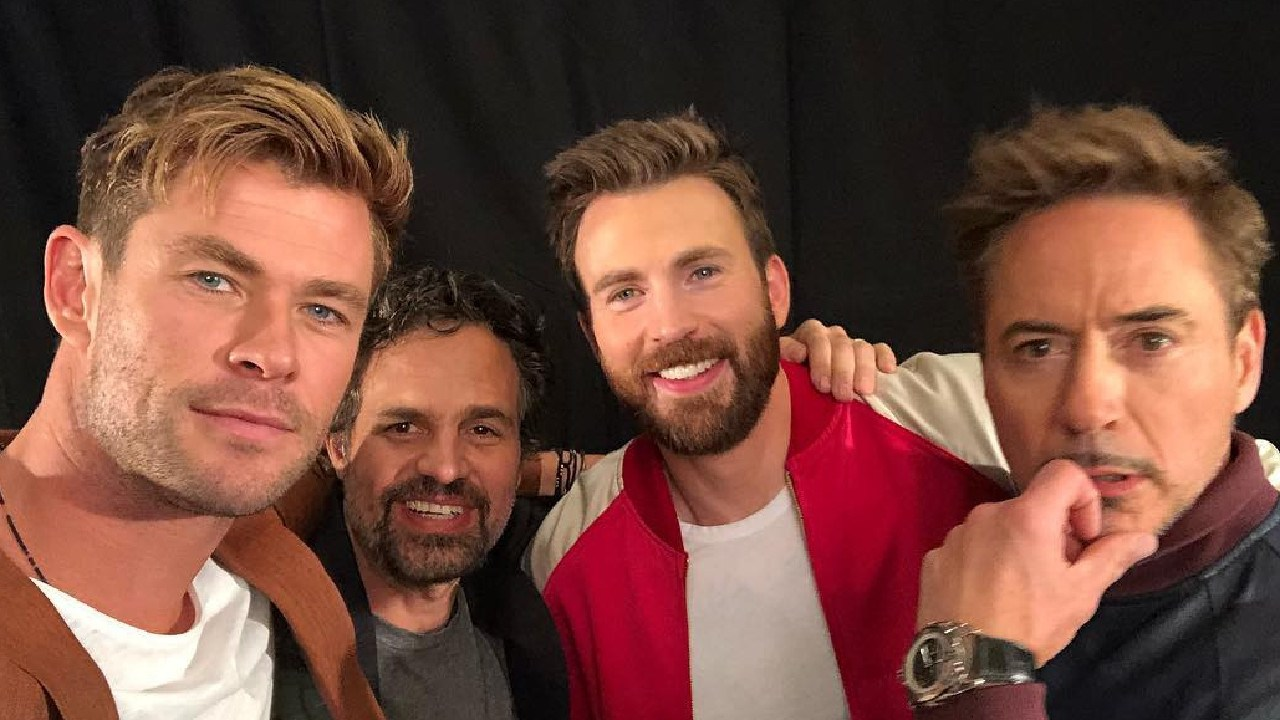 L-R: Hemsworth, Mark Ruffalo, Chris Evans and Robert Downey Jr.