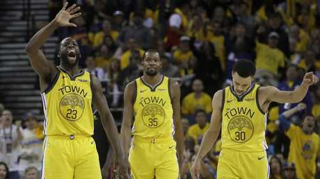 Draymond Green, Kevin Durant and guard Stephen Curry have work to do as the series shifts to LA. Picture: AP