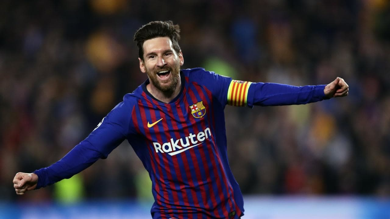 Two goals to Lionel Messi have Barcelona in control of their Champions league clash with Manchester United.