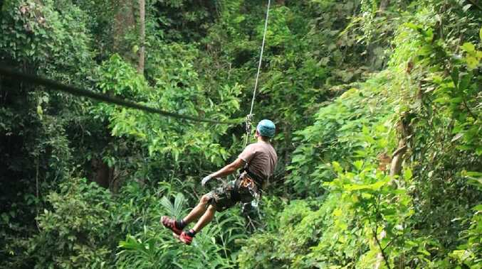 A tourist died in Thailand when the cable of the zip line he was riding snapped. File image. Picture: @flightofthegibbon