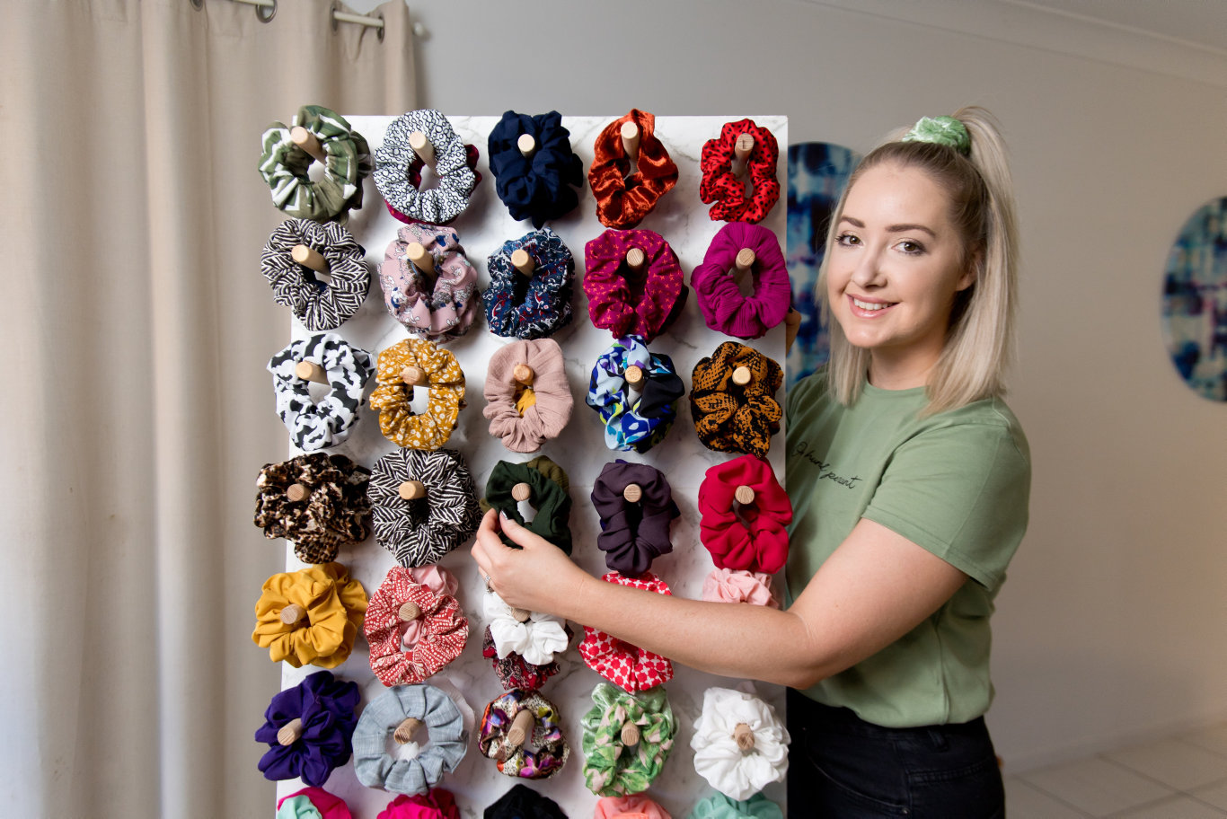 Misteeq Fashion owner Alyce Gallagher with some of the scrunchies she makes.