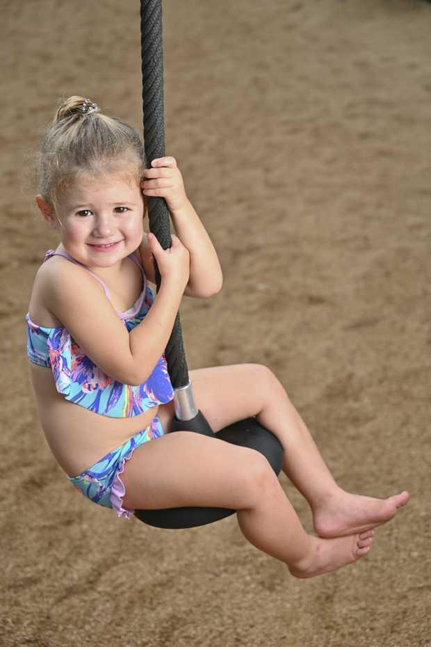 Image for sale: Mia Schmidt, 3, Blackstone enjoys the nice weather at Riverheart Parklands over the Easter break.