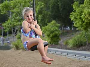 Mia Schmidt, 3, Blackstone enjoys the nice weather at