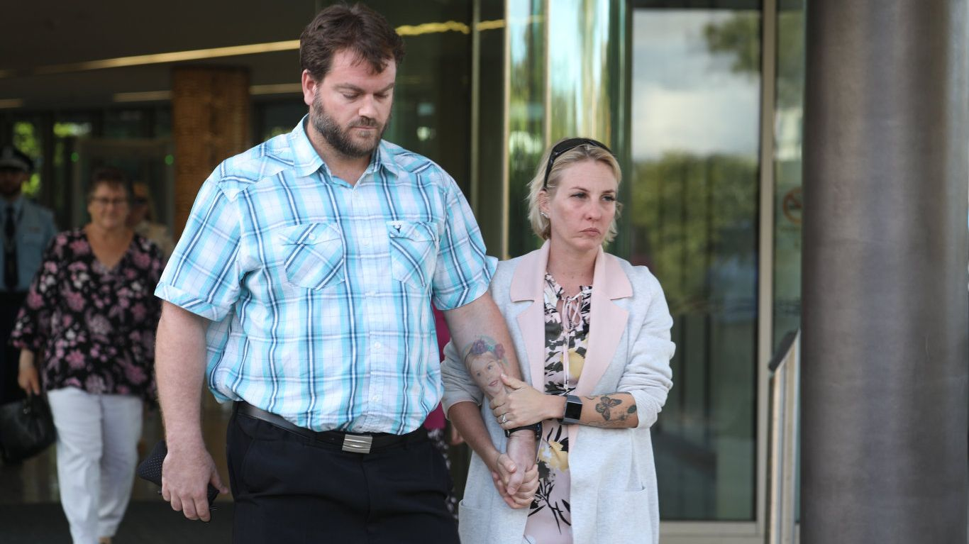 Steven and Michelle Underhill leave Coffs Harbour Court House after Courteney Pearl Matthews was sentenced over the crash that killed their daughter Elle.