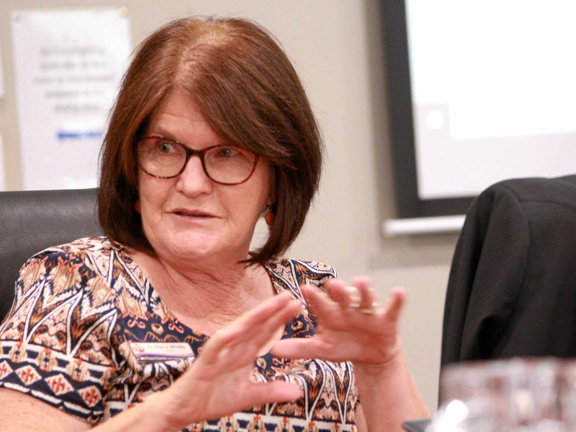 Cr Sheryl Windle at a Southern Downs Regional Council meeting in Warwick in 2019.