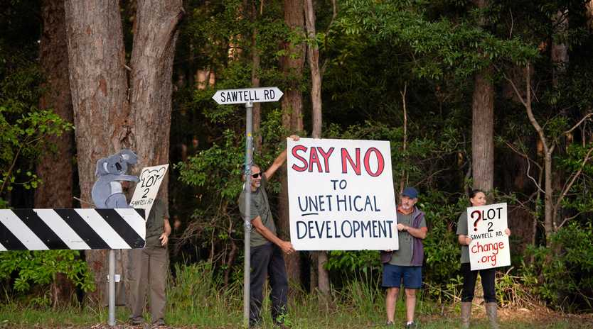 RESIDENTS RALLY: Voices of protest against proposed development at Lot 2 Sawtell Rd.