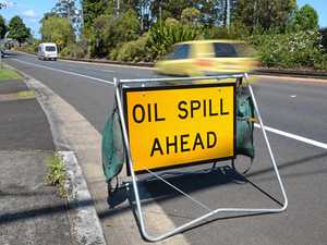 Oil spill on major road