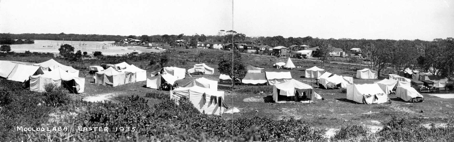 Camping on the Spit at Mooloolaba at Easter, 1935.