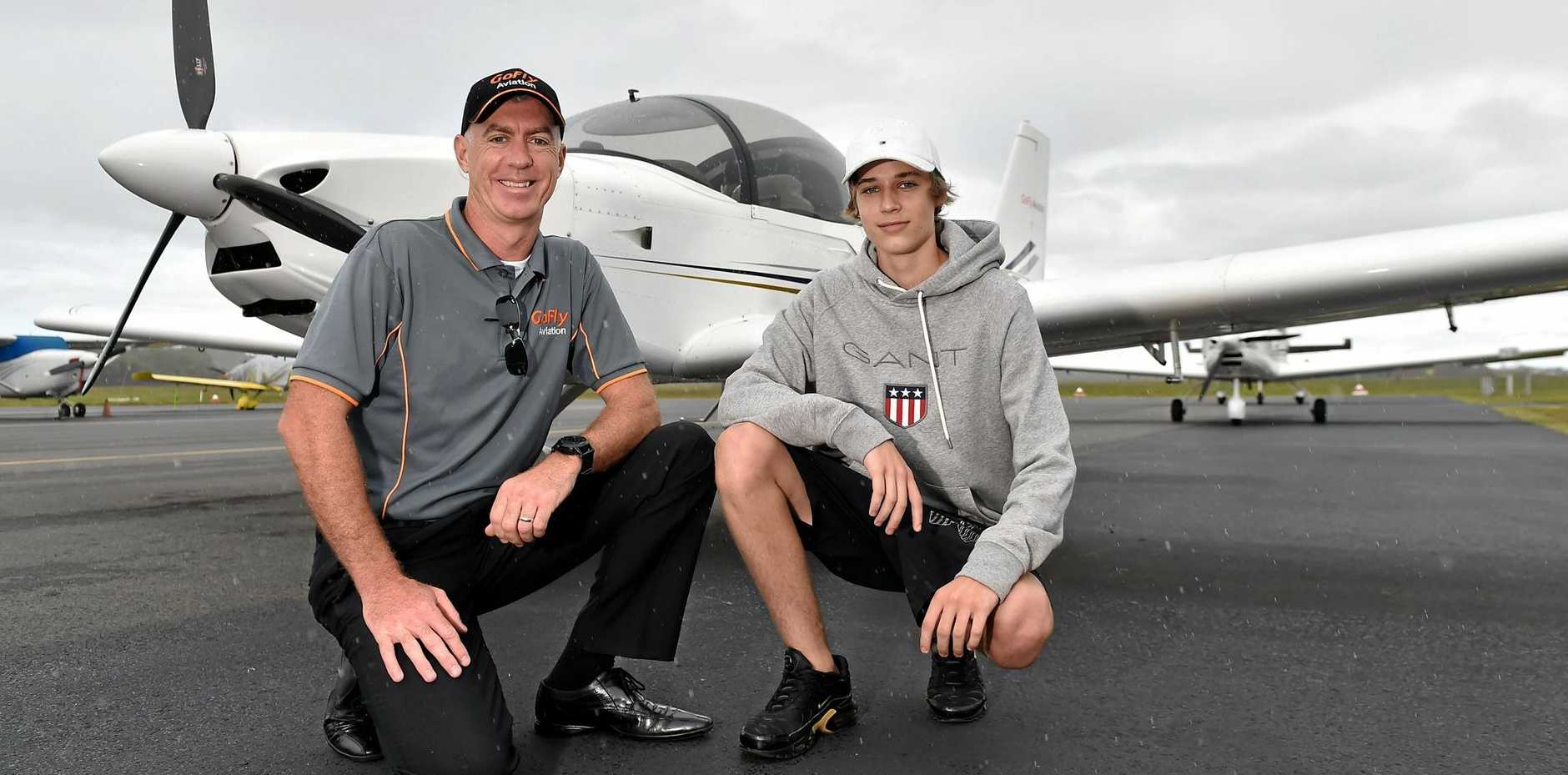 Zac Stepney has autism spectrum disorder and is now on track to do a mechanic apprenticeship. Caloundra's GoFly flight instructor Dan Maloney will also offer a flight in a Sling aircraft as part of the program.
