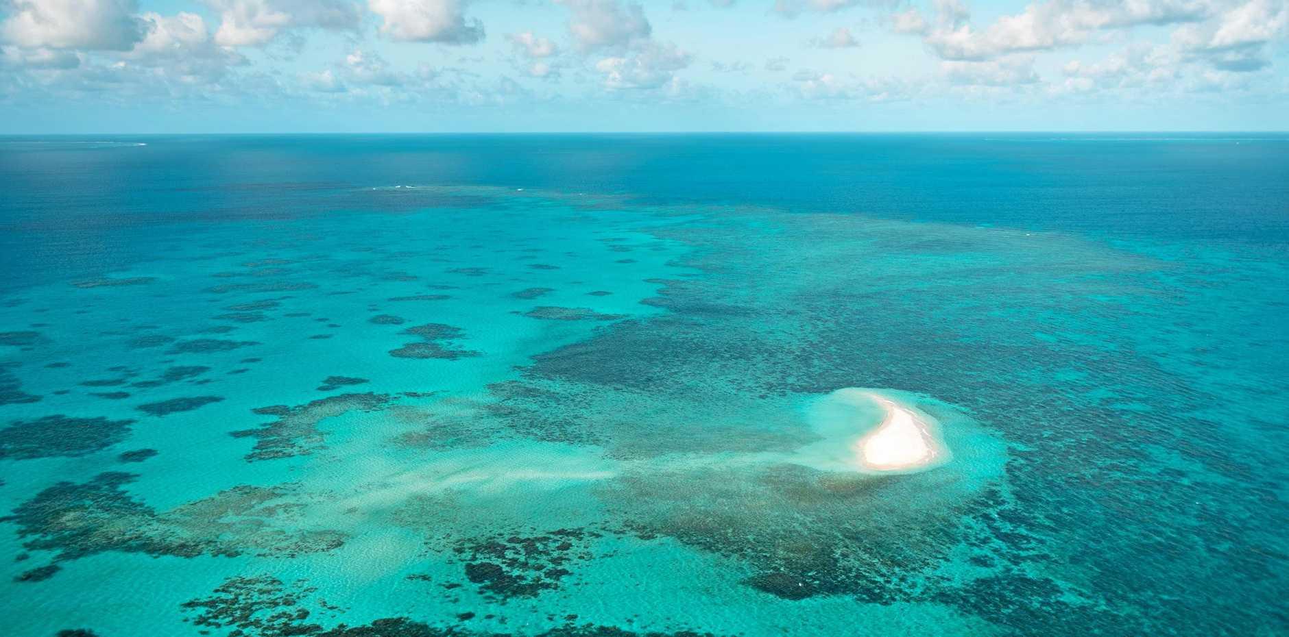 Aerial of Sudbury Cay Great Barrier Reef.
