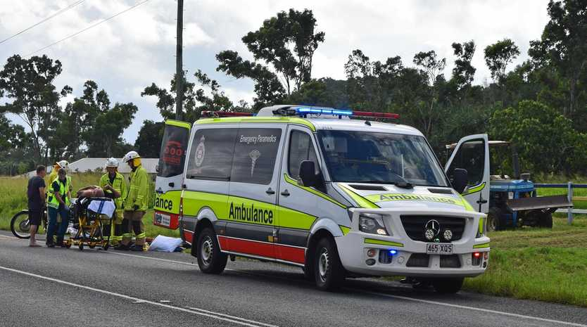 A man was taken to hospital with arm and leg injuries after an accident between his motorbike and a car on Shute Harbour Rd at Cannon Valley.