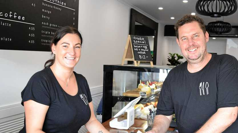 SEASONED PARTNERS: Kiri and Dan Davidson are thrilled to open Ballina's newest cafe Nosh.