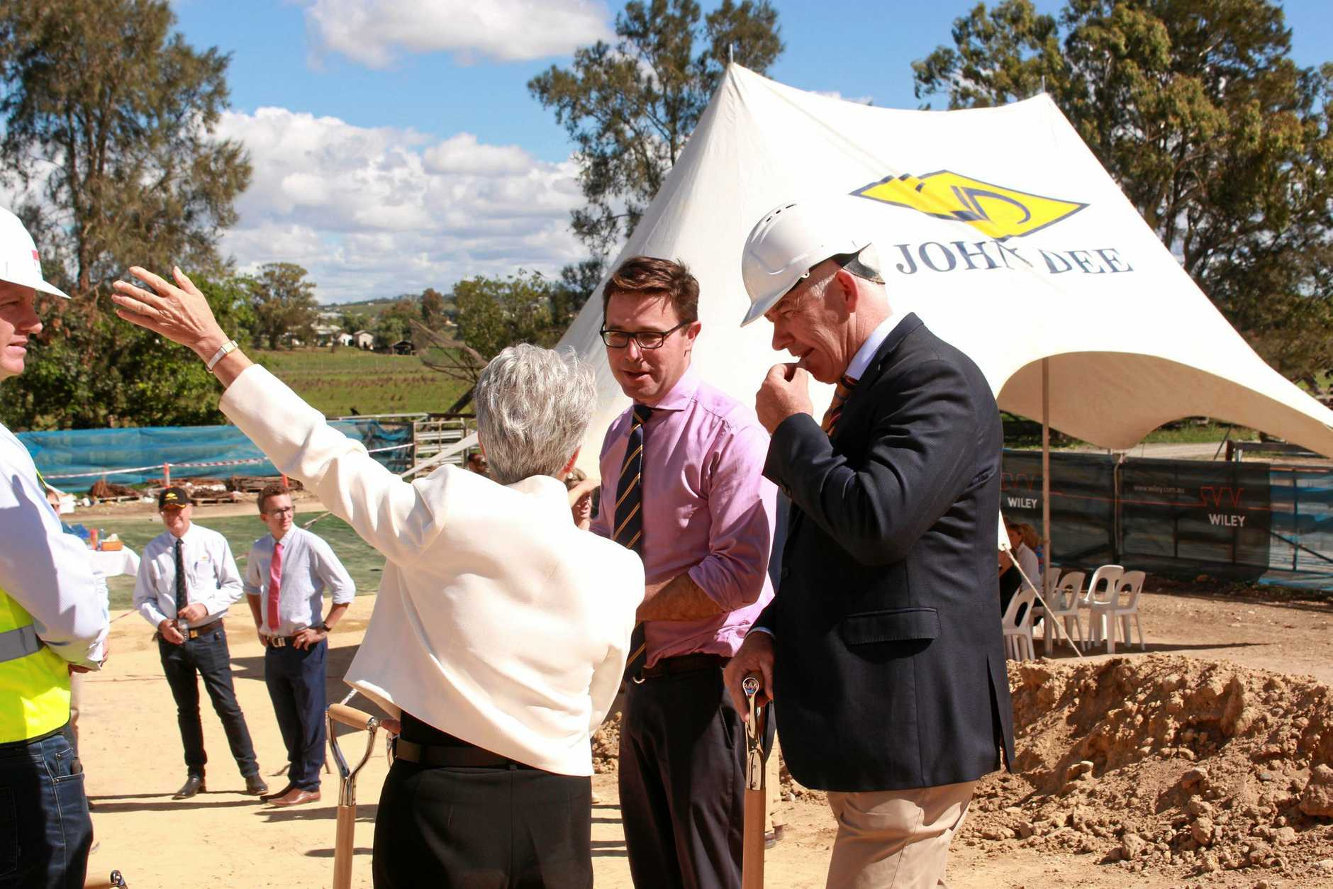 READY TO ROLL: John Dee CEO Warren Stiff, Maranoa MP the Hon David Littleproud and Southern Downs Mayor Tracy Dobie officially opened the new construction site on Thursday.
