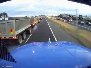 Truckie avoids smash after car's last minute lane change