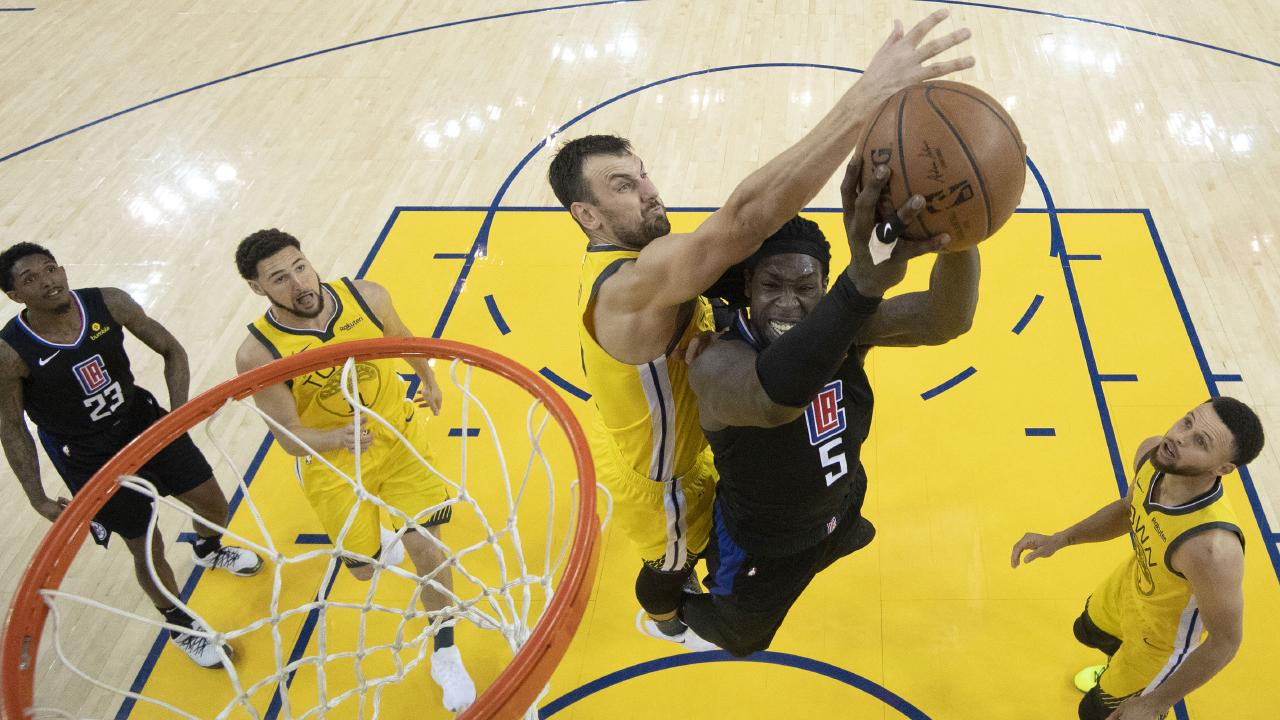 Bogut is spending the NBL off-season trying to win another NBA title with the Golden State Warriors. Picture: AP