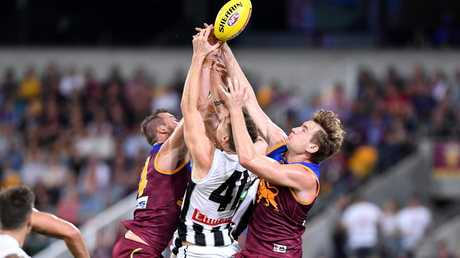 Brody Mihocek was dominant up forward for Collingwood with four goals. Picture: Bradley Kanaris/AFL Photos/Getty Images.