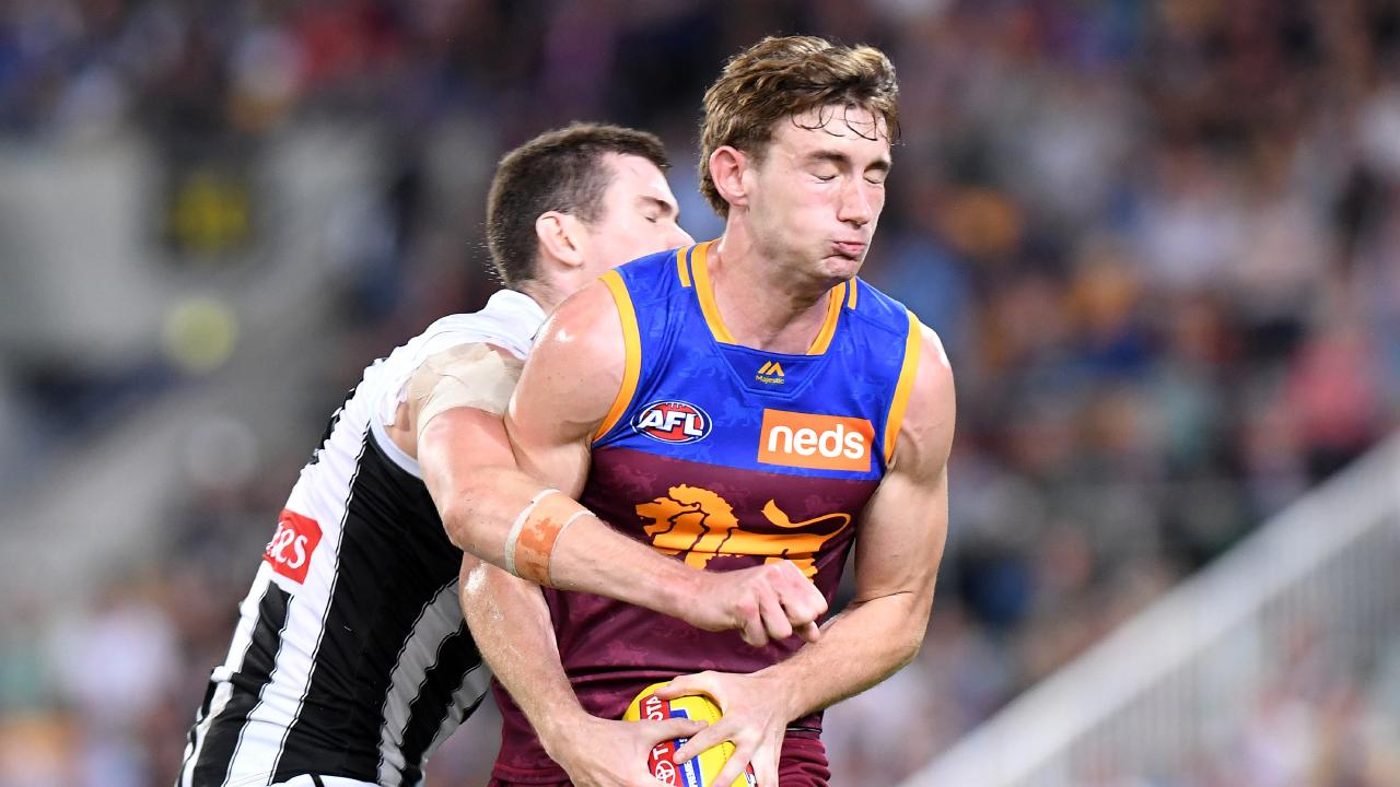 Harris Andrews suffered a hamstring injury in Brisbane Lions loss to Collingwood. Picture: Bradley Kanaris/AFL Photos/Getty Images.