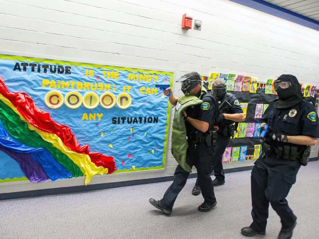 Police take part in Active Shooter Response Training exercise at a school in Colorado. Picture: AP