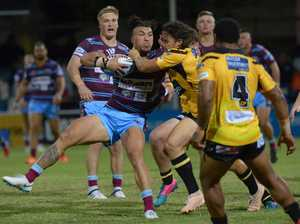 RUGBY LEAGUE: CQ Capras' Aaron Pene with the ball