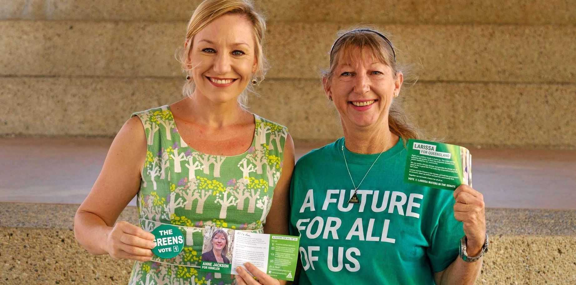 GREENS: Hinkler candidate Anne Jackson with Senator Larissa Waters in the Bundaberg CBD on Thursday.