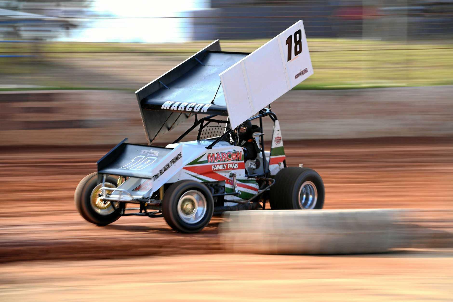 MOTOR RACING: Clinton Marcon racing at Carina Speedway.