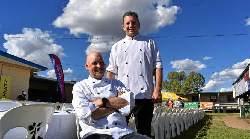 Matt Golinski and Glen Barratt, celebrity chefs and hosts of 'Outback Tucker Under the Stars' at Easter in the Country.