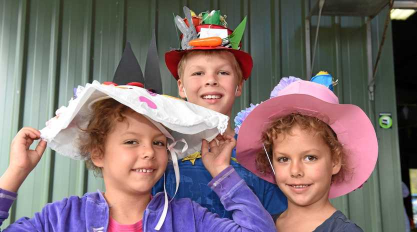 BEAUTIFUL BONNETS: 6-year-old Neve, 8-year-old Tasman and 6-year-old Piper Roderique in their Easter bonnets at the Toogoom Easter Fair..